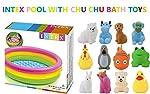 Jiada Inflatable Kids Pool -2Ft,Multicolor with Chu Chu Non Toxic Bath Toys 12Pcs