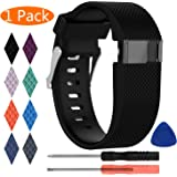 Compatible Fitbit Charge HR Strap, KingAcc Silicone Accessory Replacement Bands Straps for Fitbit Charge HR, With Metal Buckle Fitness Sport Wristband Band Women Men Large Small Black, Orange, Gray, Blue, Purple