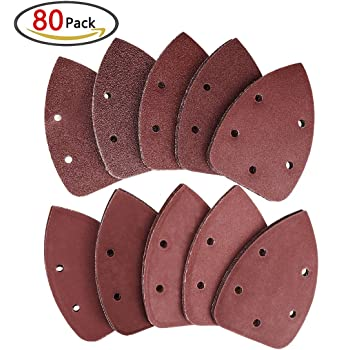 Sand Paper Asatrye 60pcs Triangle Mouse Detail Abrasive Sanding Sheets Paper Discs Assorted 40 80 120 180 240 400 Grits