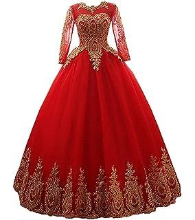 97a54b68200 Meales Damen Rundhals Quinceanera Kleider Mit Langarm Prinzessin  Applikationen Hochzeitskleider Lang Abendkleider Ballkleider