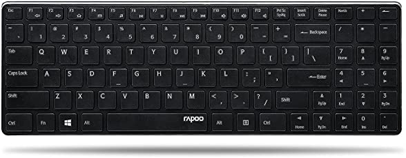 Rapoo E9110 ultraschlanke kabellose Aluminium Tastatur (2,4 GHz Wireless, 4,9 mm dünn, Multimedia, Nano-USB, Full-Size Tasten, für Apple, MAC, QWERTZ deutsches Layout) schwarz