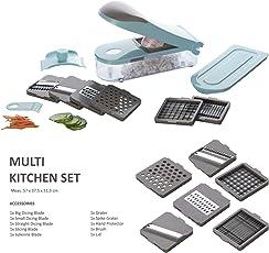 UMOI Multi Kitchen Schneider Dicer mit Salatschleuder Schneiden | Reiben | Julienne | Spiralen | Hobeln | Würfeln | Obst- und Gemüseschneider | Bekannt aus Youtube | Top QUALITÄT