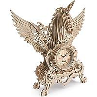 nicknack Horloge 3D Puzzle en Bois - Découpe Laser, Licorne Ensemble de Construction de modèle d'horloge en Bois - Scie…