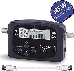 Neu - DUR-Line SF 2500 Pro - Satfinder - Besseres Display, Neue Elektronik - Digitales Satelliten-Messgerät zur exakten Justierung Ihrer Sat-Antenne - inkl. F-Kabel und durchdachter dt. Anleitung