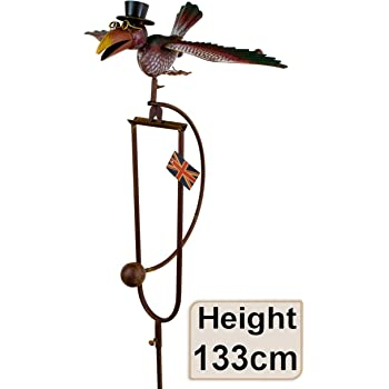 East2eden Rocking Balancing Flying Owl Or Crow Metal Garden Wind Rocker  Spinner Ornament (Colourful Dad)