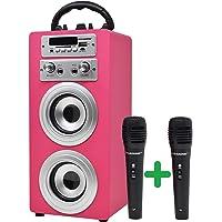 DYNASONIC - Altoparlante Bluetooth portatile con modalità karaoke e microfono, radio FM e lettore USB SD (modello rosa…