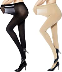 QUEERY Women's 80Den 1 Skin and 1 Black Full Length Pantyhose Stocking