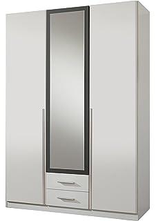 lifestyle4living Kleiderschrank 5-türig in weiß/grau mit Schubladen ...