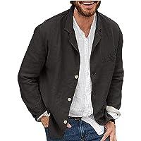 Men's Linen Blazer Lightweight Casual Solid Button Linen Jacket Essential Slim Fit Autumn Sport Coat with Pockets