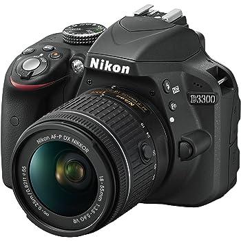 "Nikon D3300 Kit Fotocamera Reflex Digitale, con Nikkor AF-P 18/55 VR, 24.2 Megapixel, LCD 3"", SD 8 GB 300x Premium Lexar, Nero, [Nital Card: 4 Anni di Garanzia]"