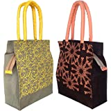 Foonty Daily Use Women Jute Lunch Bags(Combo of 2,Multicolour,fab-11)