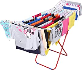 Kurtzy Stainless Steel Cloth Rail Drying Stand Rack Holder Organizer for Laundry Garments in & Outdoor 1 PC