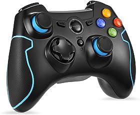 EasySMX [Geschenk für Jungen PC Controller, Wireless Controller Gamepad PS3 Kompatibel mit Windows XP und Vista, Windows 8, PS3, Android und Reichweite bis zu 10M (Blau)
