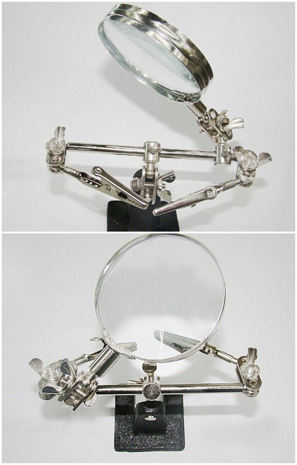 JZK Lupa con pinzas 60 mm 8x amplificación lupa soldadura con sostenedor,