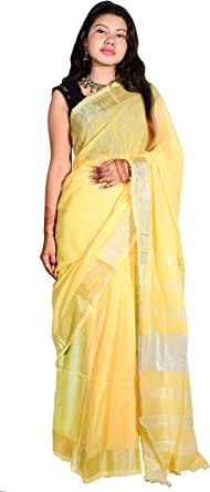 ThreeS Women's Bengal Handloom Slub Linen Zari Work Saree With Same Shade Blouse Piece