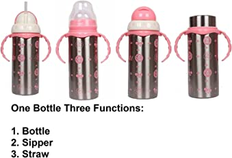 Ole Baby Kids Multifunctional 3 in 1 Stainless Steel Feeding Bottle - 240ml