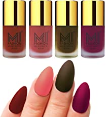 Mi Fashion Velvet Dull Matte Nail Polish, Cherry Red, Light Peach, Olive Brown, Magenta, 39.6ml (4 Pieces)