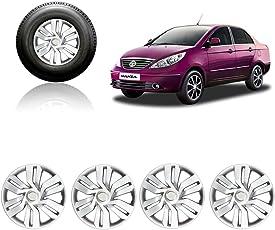 Auto Pearl Car Full Caps Wheel Cover for Tata Manza (15Inch, Silver)