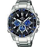 Casio EDIFICE Reloj en caja sólida de acero inoxidable, 10 BAR, Azul/Negro, para Hombre, con Correa de Acero macizo, EFR-534D