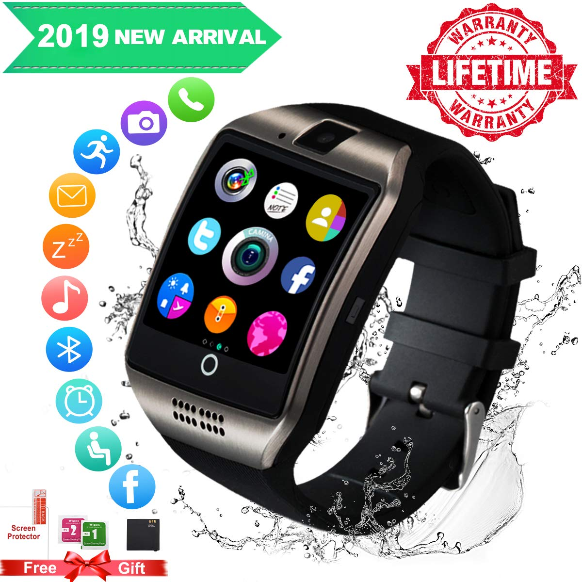 Smartwatch con whatsapp,Bluetooth smart watch Pantalla táctil,Reloj inteligente hombre con Cámara, impermeable… 1