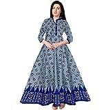 Nandini Fashionable Womens' Multicolor Jaipuri Rajasthani Printed Cotton Maxi Frock Long Kurti Blue