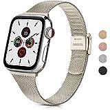 Wanme Correa Compatible con Apple Watch Correa 44mm 42mm 40mm 38mm, Estrecha y Fina Pulsera de Repuesto de Acero Inoxidable H