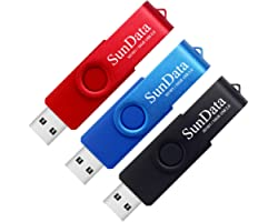 SunData 16GB Memorias USB 3 Piezas PenDrives 16GB Unidad Flash USB2.0 Giratoria Pen Drive con Luz LED (3 Colores: Negro Azul