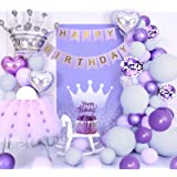 Decorazioni compleanno viola, palloncini viola pastello, palloncini grigio viola macaron, banner HAPPY BIRTHDAY, palloncini v