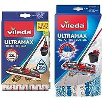 Vileda Recharge Ultramax Power 2en1 - Lot de 2 & Housse Micro & Coton pour Balai à Plat Ultramax, 120g