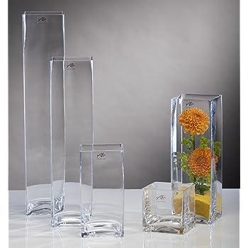 glasvase glas vase blumenvase tischvase bodenvase quadrat gro 50 cm k che haushalt. Black Bedroom Furniture Sets. Home Design Ideas