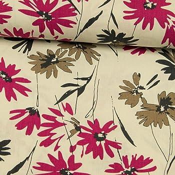 f5069f75d132 Viskose Leinen Stoff natur Blumen pink Damenstoff -Preis gilt für 0,5 Meter-