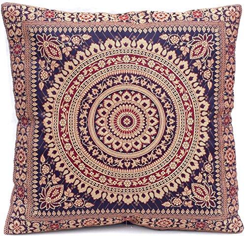 Dunkelblau Indische Seide Deko Kissenbezüge 40 cm x 40 cm, Extravaganten Design für Wohnzimmer und Schlafzimmer Dekor, Kissenhülle aus Indien. Angebot gültig solange der Vorrat reicht.