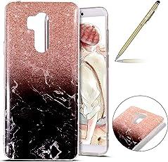 Marmor Hülle LG G7 ThinQ, LG G7 ThinQ Weich Silikon Handyhülle, Herbests LG G7 ThinQ Marmor Muster Silikonhülle Hülle Weich Dünn TPU Silikon Hülle Kristallklar Durchsichtig TPU Bumper HandyTasche Schutzhülle Kratzfest Ultra Slim Stoßdämpfend TPU Handyhülle Backcover Silikon Handytasche Case Rückseite Etui Bumper Cover für LG G7 ThinQ + Stylus,Marmor schwarz Rose Gold