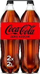 Coca-Cola Zero Azúcar - Refresco de cola sin azúcar, sin calorías - Pack 2 botellas 2L