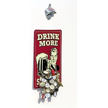ouvre bouteille de bi re montage mural avec plaque aimant e capture aimant inscription drink. Black Bedroom Furniture Sets. Home Design Ideas