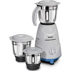 AGARO Magnus 500 W Mixer Grinder, 3 Stainless Steel Jars, 3 Speed Settings  Blue White