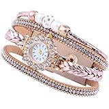 Hemobllo Orologio multistrato con cinturino orologio tempestato di diamanti Bracciale per donna alla moda con borchie (beige)