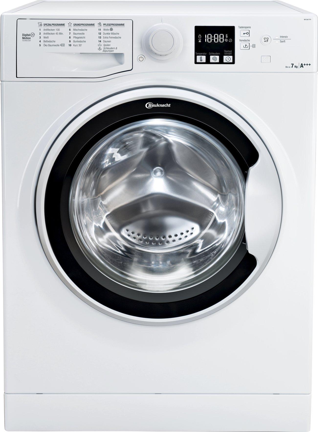 Bauknecht WA Soft 7F4 Waschmaschine Frontlader, 7 kg Füllmenge, Nachlegefunktion