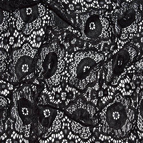 designers-factory Tissu dentelle noire stretch, (par multiple de 20cm)