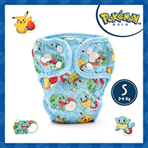PAW PAW Pokemon Reusable Cloth Diaper for Babies/Washable Cloth Diapers with Inserts (Small, 3-6 Kg), Pokemon