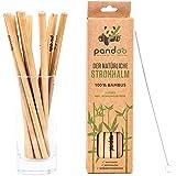 pandoo 12-pack sugrör av 100 % bambu innehåller rengöringsborste | återanvändbara och miljövänliga sugrör | 100 % biologiskt
