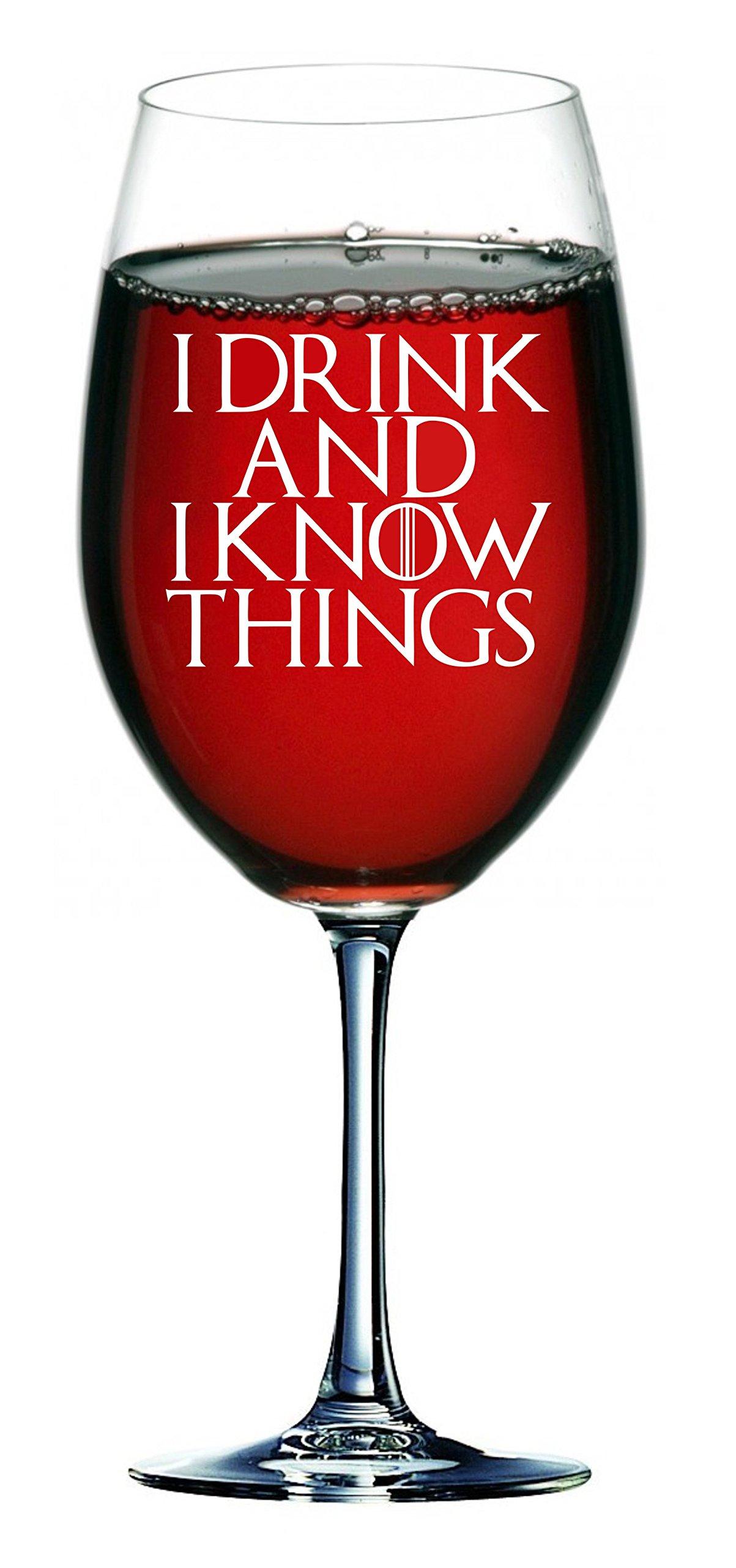 """Lapal Dimension Copa de vino inspirada en Juego de Tronos con texto en inglés """"I Drink and I Know Things (750 ml) 1"""