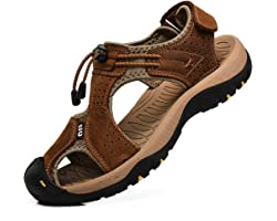 rismart Men's Closed-Toe Hook&Loop Outdoor Hiking Leather Shoes Sandals