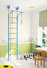 Wallbarz Indoor Training Gym Sport Set with Accessories Equipment: Climber, Gymnastic Swing Rings, Climbing Rope for Kids