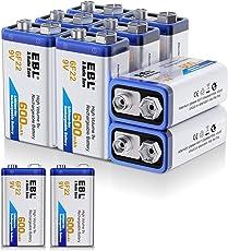 EBL 600mAh 9 Volt Li-ion Rechargeable 9V Batteries Lithium-ion, 10 Pack