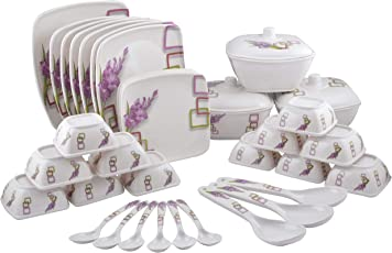 Maharaja Royal Melamine Dinner Set, 40 Pieces, Service for 6, White and Purple