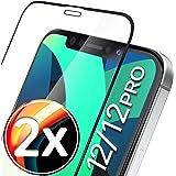 """UTECTION 2X Full Screen Beschermglas 3D voor iPhone 12, iPhone 12 Pro (6.1"""") - Perfecte bevestiging dankzij frame - Premium d"""