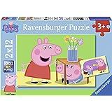 Ravensburger 075737 - Peppa Pig: Geschwisterliebe, 2 x 12 Teile Puzzle