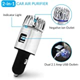 Car Air Purifier, Ionizer Deodorizer and Ionic Air Freshener with Dual USB Charger  Remove Dust, Pollen, Smoke, Food & Pet Sm