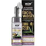 WOW Skin Science Charcoal Foaming Face Wash with Built-In Face Brush for Deep Cleansing - No Parabens, Sulphate, Silicones &